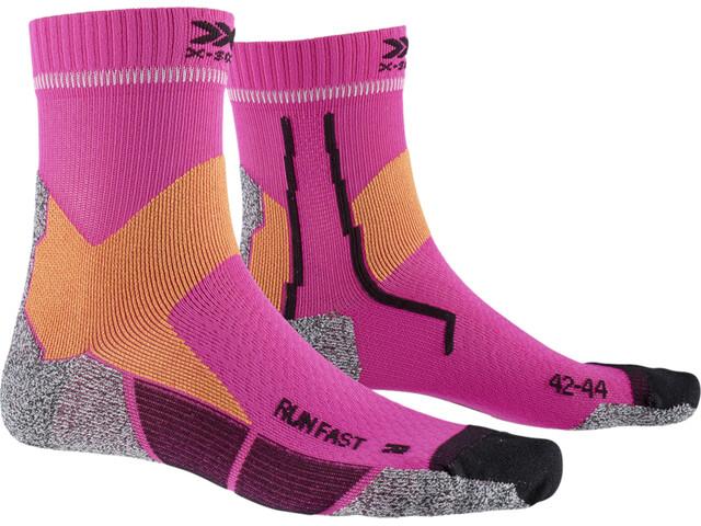 X-Socks Run Fast Calcetines, rosa/naranja